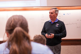 Professor Drew Winters lectures to finance students in the Rawls College of Business