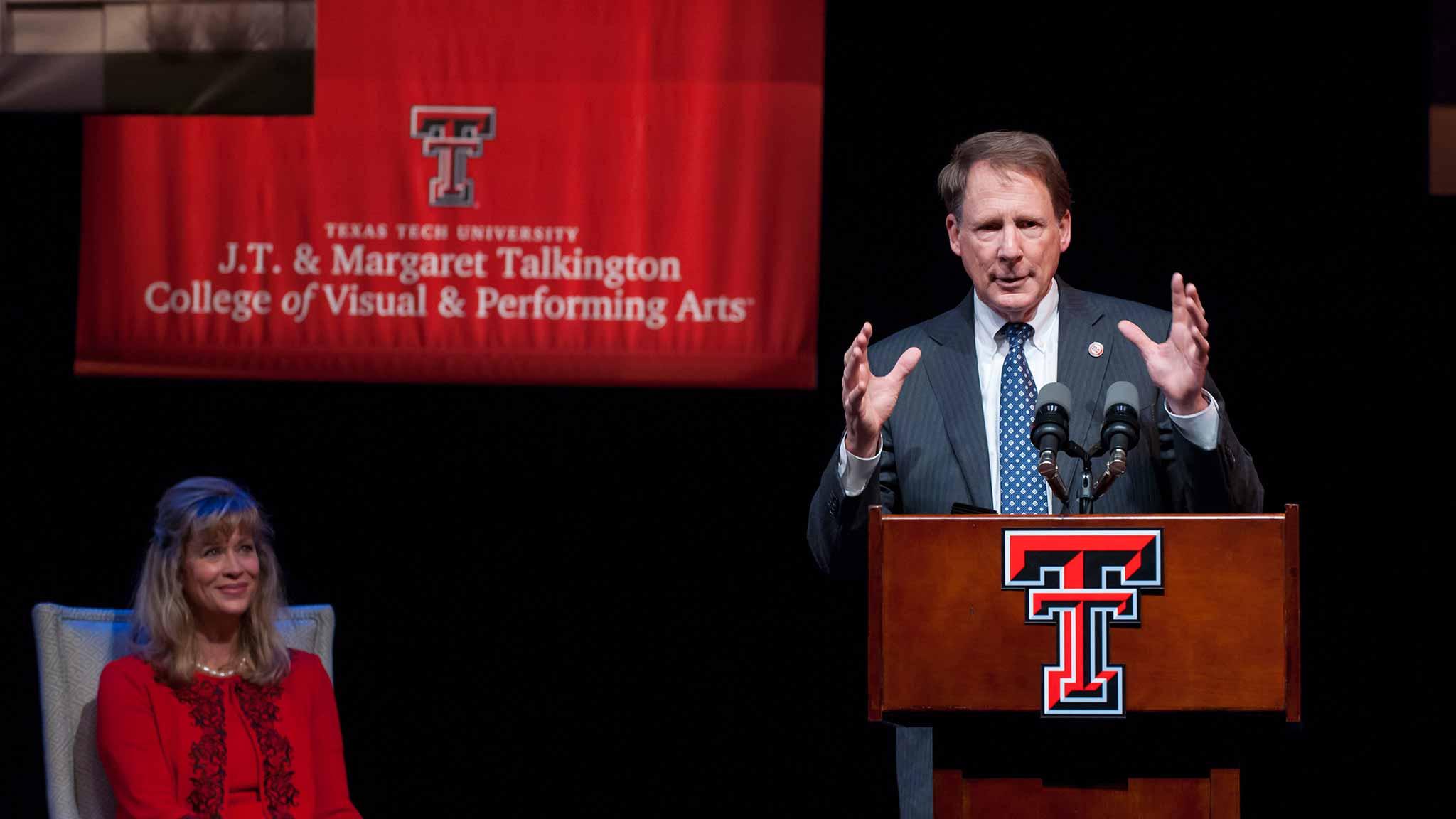 Chancellor Robert Duncan speaks at the School of Theatre & Dance Complex groundbreaking