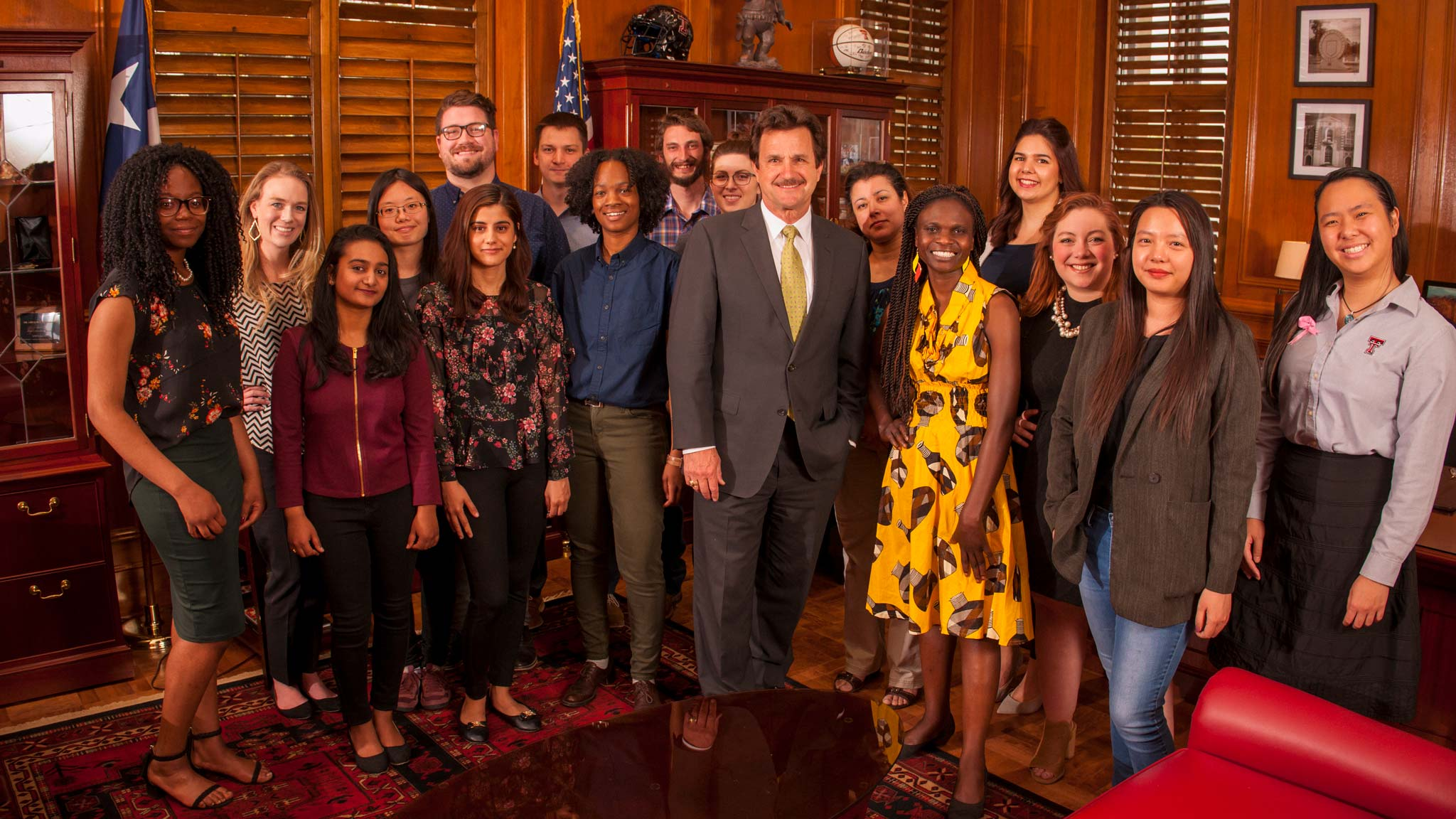 President Lawrence Schovanec with Talkington scholars