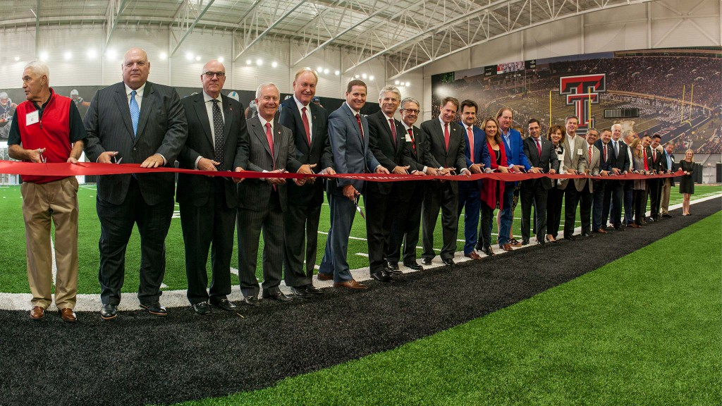 Donors and Texas Tech officials cut the ribbon on the new Sports Performance Center