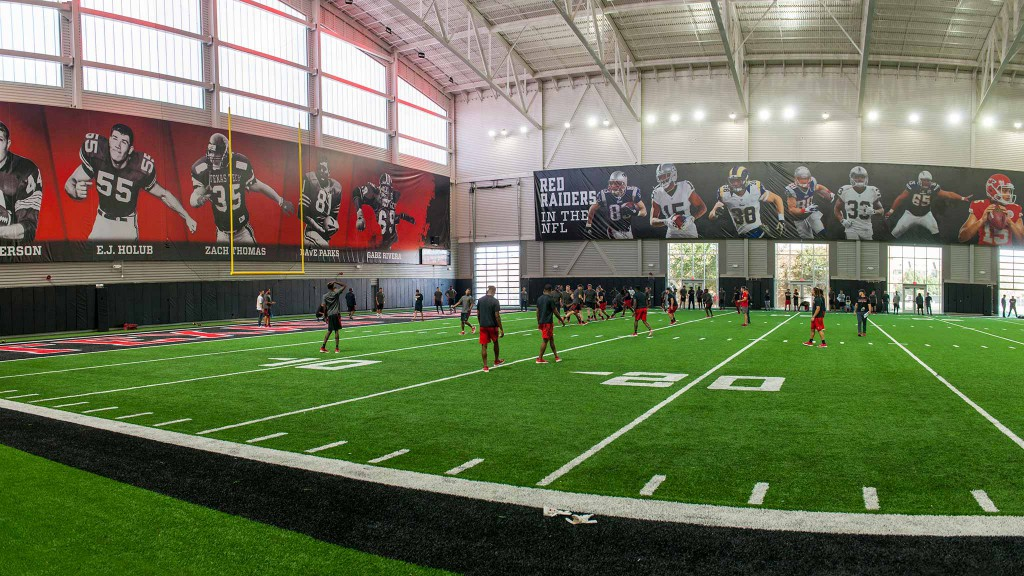 Texas Tech football practices in the Sports Performance Center