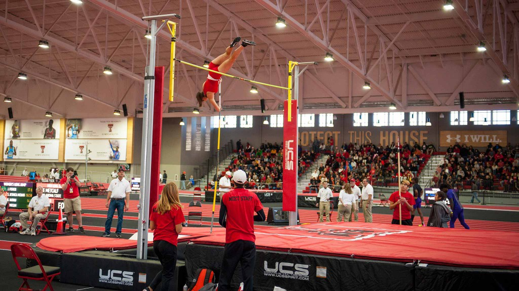 Megan Wood attempts a height in the pole vault