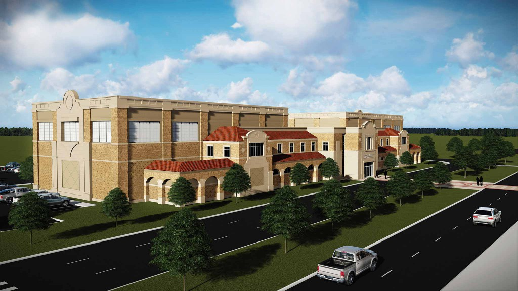 Exterior rendering of the Dustin R. Womble Basketball Practice Center