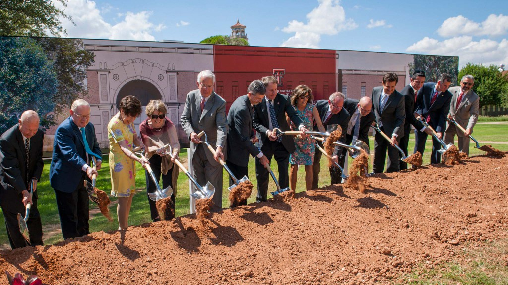 Texas Tech University System and J.T. & Margaret Talkington Charitable Foundation officials break ground on the new School of Theatre & Dance Complex at Texas Tech University