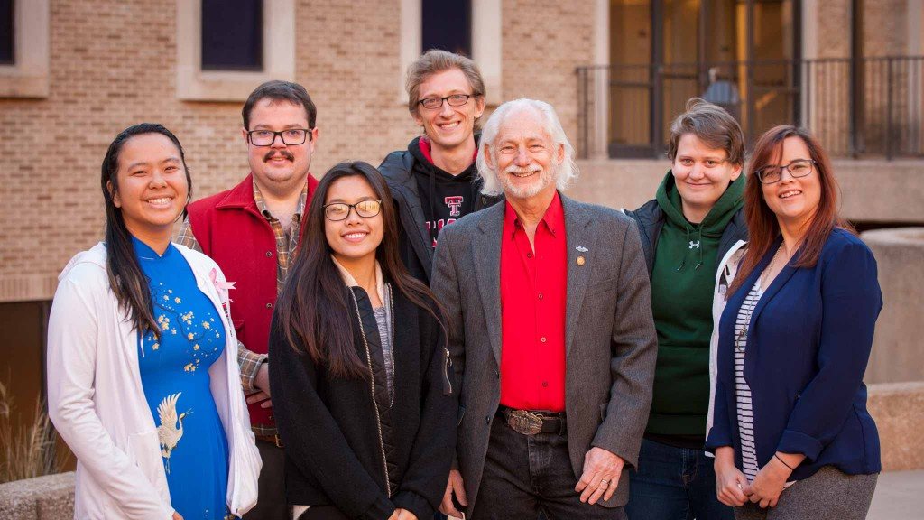 Ron Milam and students at Texas Tech University