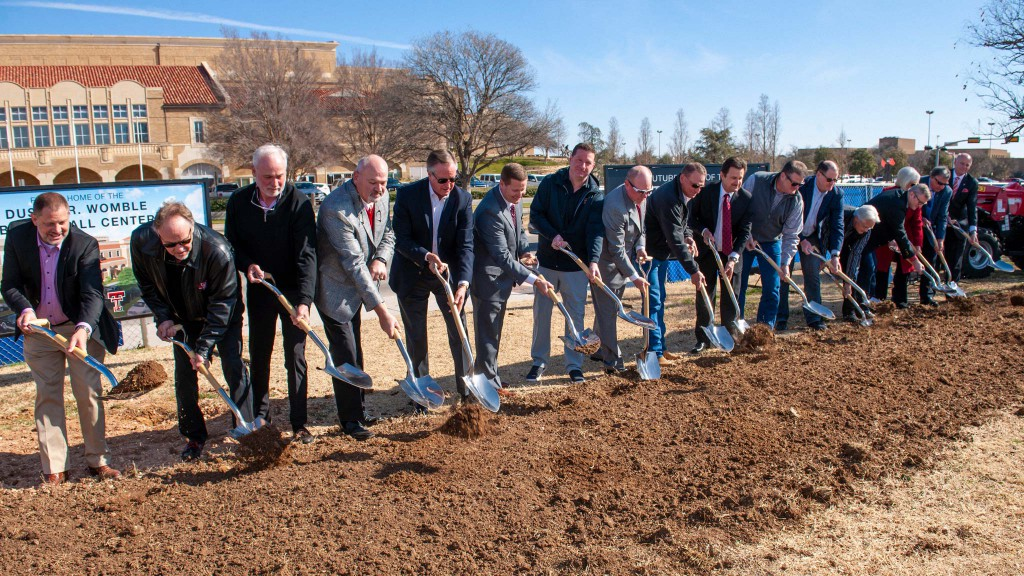Texas Tech University System officials and donors break ground on construction of the Dustin R. Womble Basketball Center at Texas Tech University