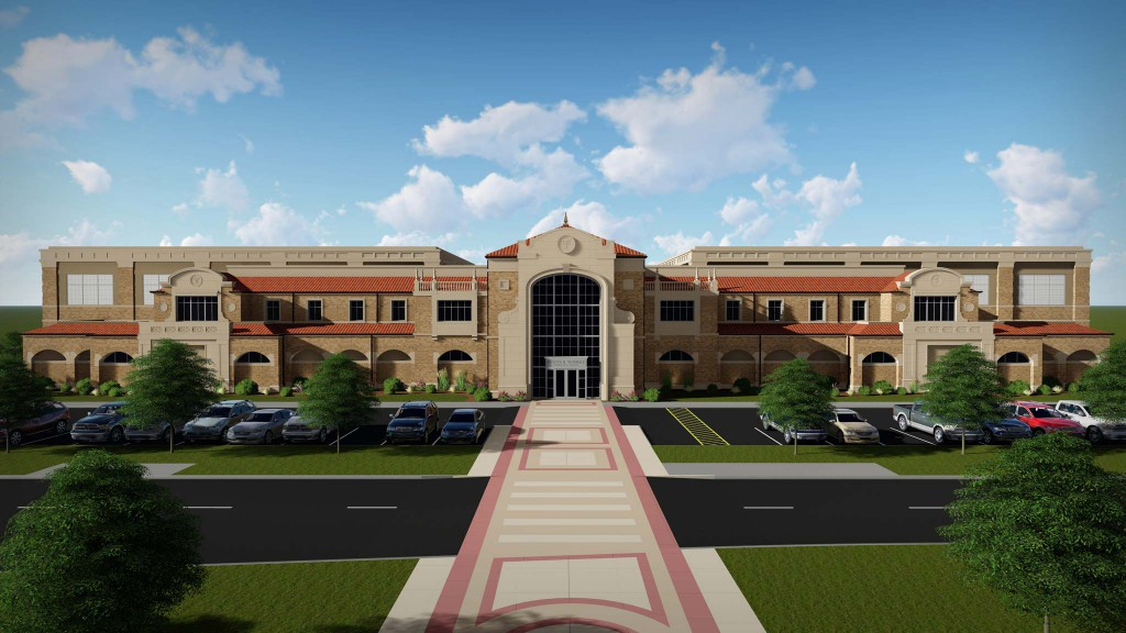 Architectural rendering of the east side of the Dustin R. Womble Basketball Center