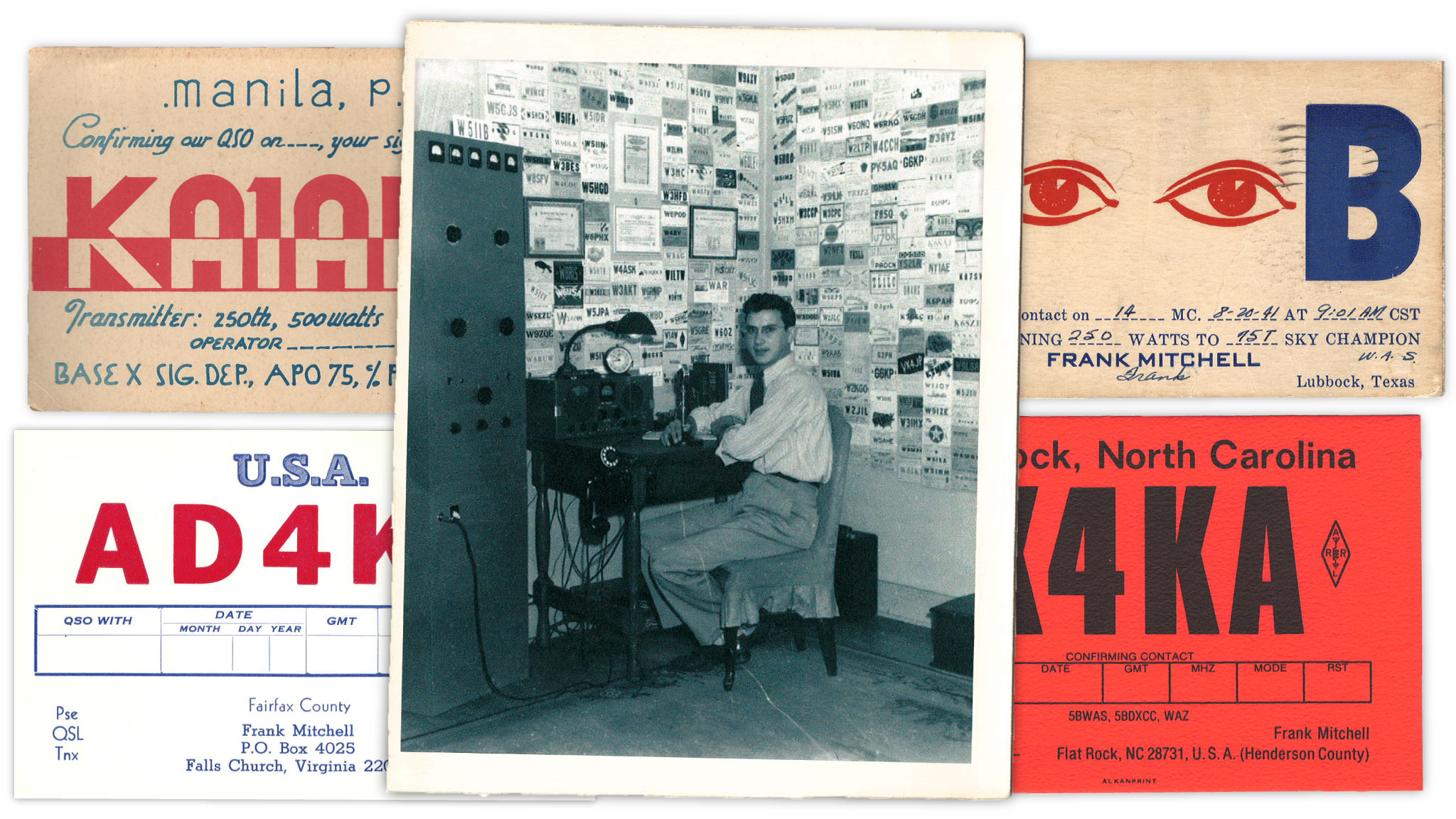Frank Mitchell at his amateur radio surrounded by QSL cards