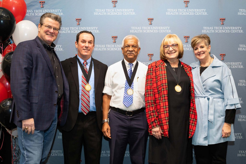 Chancellor Tedd L. Mitchell, Thomas Abbruscato, Vadivel Ganapathy, Sherry Sancibrian and Lori Rice-Spearman