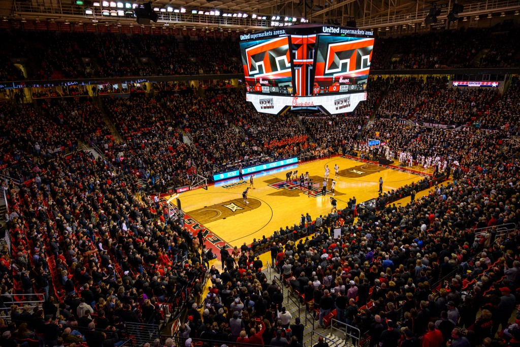 A capacity crowd fills United Supermarkets Arena for the Texas Tech vs. Univeresity of Texas game