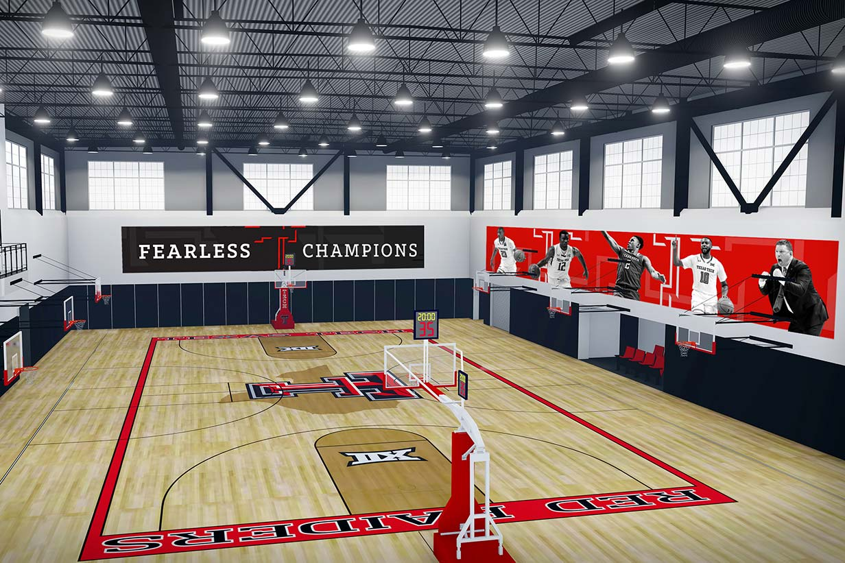 Architectural rendering of the men's practice court inside the Dustin R. Womble Basketball Center