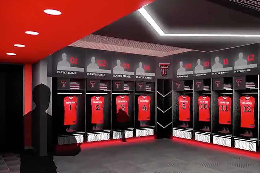 Architectural rendering of the team locker facilities inside the Dustin R. Womble Basketball Center