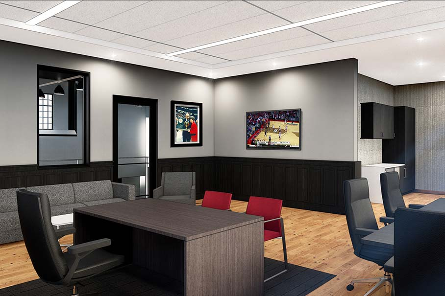 Rendering of the head coaches office in the Dustin R. Womble Basketball Practice Center