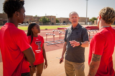 Wes Kittley talking with student-athletes