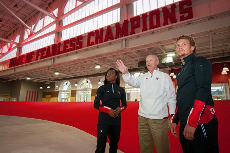 Wes Kittley, Steven Champlin and Paetyn Revell tour the Indoor Track Facility