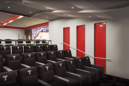 Architectural rendering of the team meeting room inside the Dustin R. Womble Basketball Center