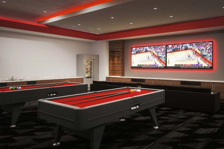 Architectural rendering of a players' lounge inside the Dustin R. Womble Basketball Center