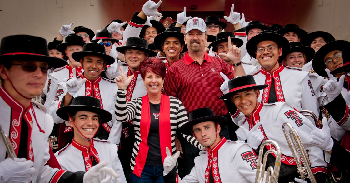 Nan and Andy Crowson with members of the Goin' Band from Raiderland