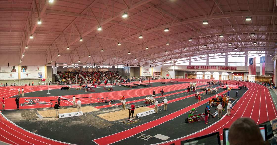 View of the Corky Classic track meet inside the Sports Performance Center at Texas Tech University