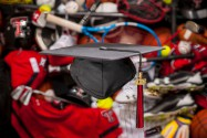 Texas Tech University mortar board and athletic equipment