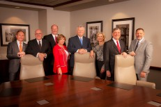 Texas Tech Foundation officials stand with new board members, from left, Chairman Donald R. Sinclair, Tim Lancaster, Clay C. Cash, Lea Wright, Dennis Kruse, Christi D. Quinn, Randall E. Morris and CEO Patrick Kramer.