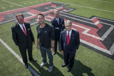 Happy State Bank officials with Kliff Kingsbury