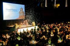Confetti falls during the Vision & Tradition campaign celebration gala