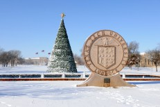 Snow-covered entrance to Texas Tech University