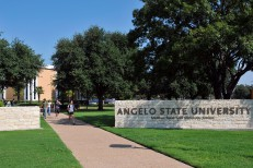 Students walk across the Angelo State University campus