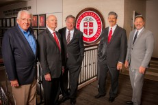 Texas Tech University System leadership and new board directors, from left, Don Maddox, David Segrest, George McMahan, Steve Gray and Patrick Kramer