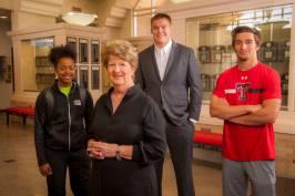 Marsha Sharp with student-athletes