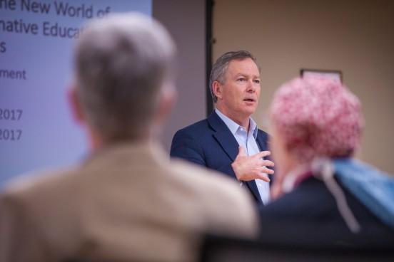 Simon C. Williams speaks to colleagues at Texas Tech University Health Sciences Center