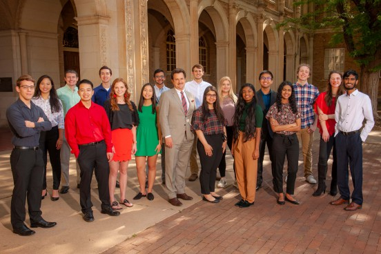 President Lawrence Schovanec with National Merit Finalist students at Texas Tech University